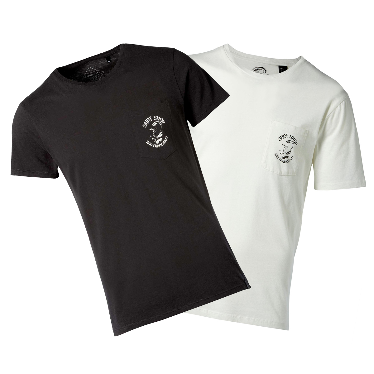 black t-shirt and white t-shirt
