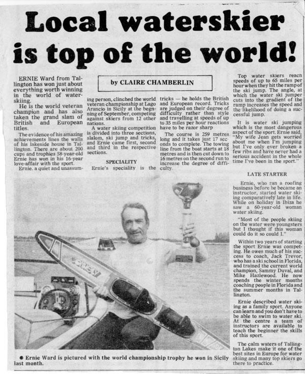 ernie ward world champion water skier newspaper cutting