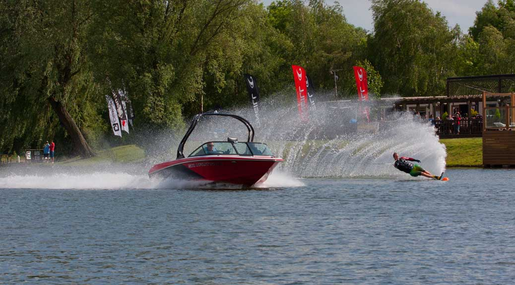 slalom water ski course boat and water skier
