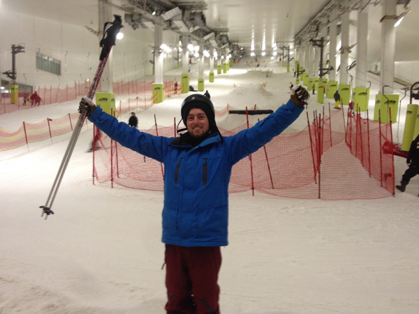 skier on indoor ski slope