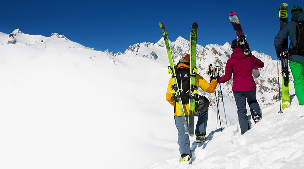 skiers looking at mountain