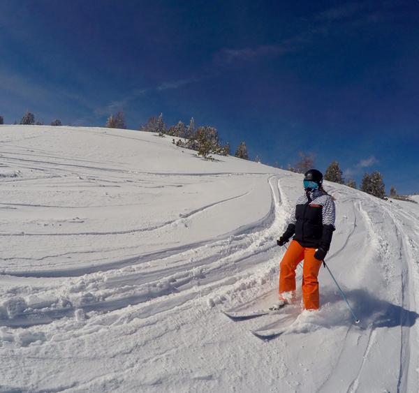 skier skiing sunny day