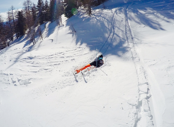 skier fallen in powder