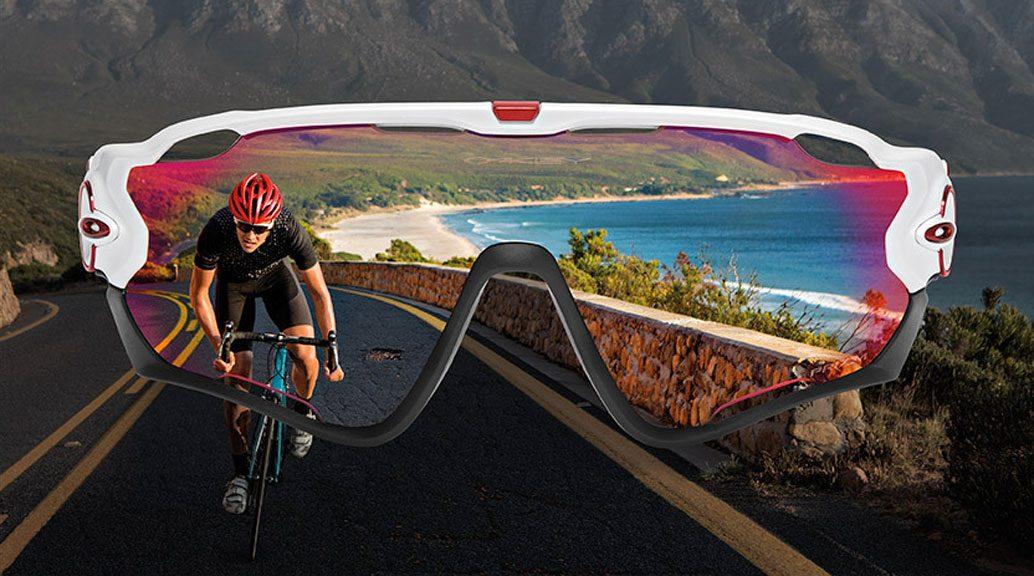 cyclist wearing oakley jawbreaker sunglasses
