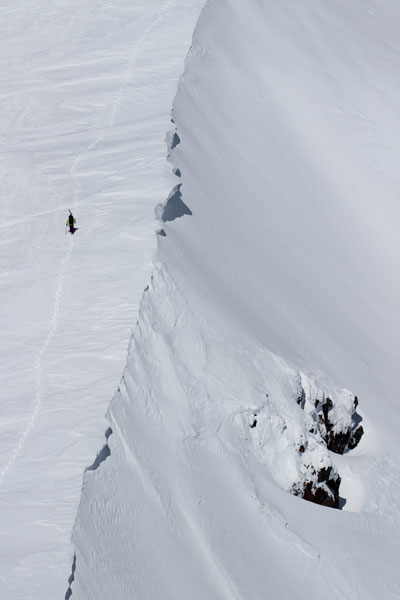 skier hiking ridge