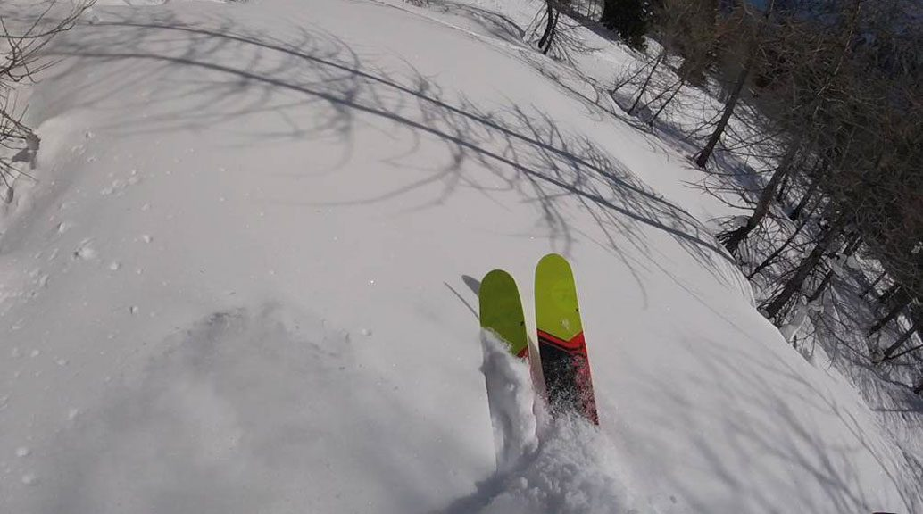 rossignol soul 7 skis in powder