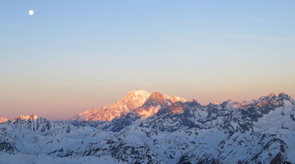 mont blanc range sunset