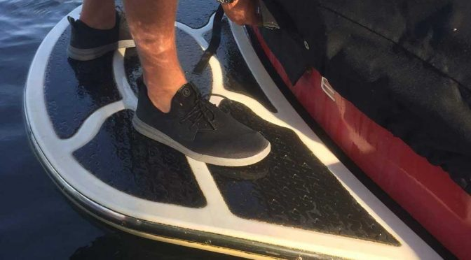 volcom draft shoes back of water ski boat