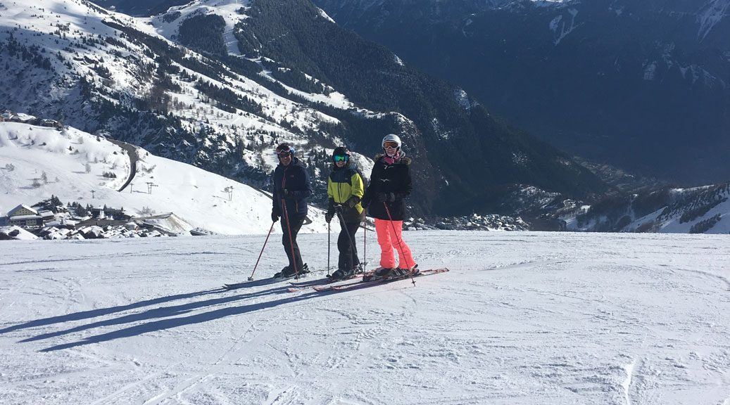 skiers one wearing protest's lole snow pants