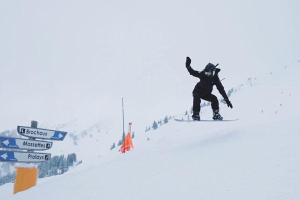 snowboarder getting air