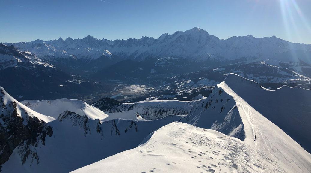 ski touring ridge line